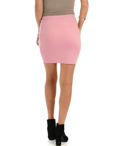 Lyss Loo Keep It Moving Ruched Pink Pencil Skirt - Clothing Showroom