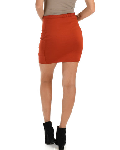 Lyss Loo Keep It Moving Ruched Rust Pencil Skirt - Clothing Showroom