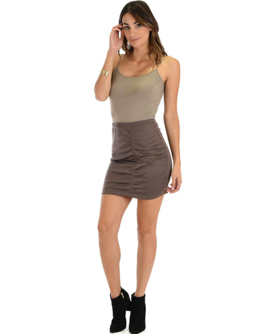 Lyss Loo Keep It Moving Ruched Taupe Pencil Skirt - Clothing Showroom