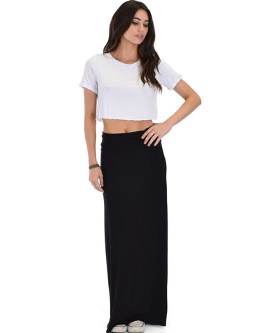 Lyss Loo Casablanca Fold Over Black Maxi Skirt - Clothing Showroom