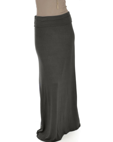 Lyss Loo Casablanca Fold Over Charcoal Maxi Skirt - Clothing Showroom