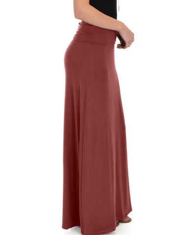 Lyss Loo Casablanca Fold Over Marsala Maxi Skirt - Clothing Showroom