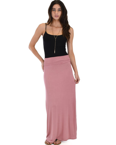 Lyss Loo Casablanca Fold Over Mauve Maxi Skirt - Clothing Showroom