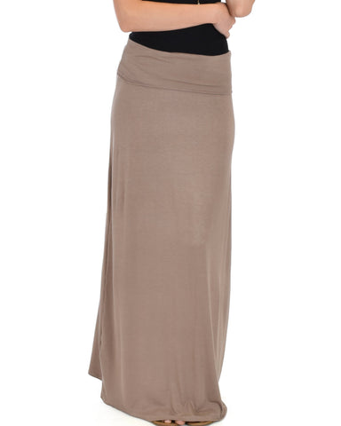 Lyss Loo Casablanca Fold Over Taupe Maxi Skirt - Clothing Showroom