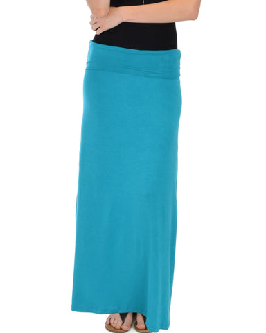 Lyss Loo Casablanca Fold Over Teal Maxi Skirt - Clothing Showroom
