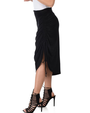 Lyss Loo Tie That Knot Fold Over Black Maxi Skirt - Clothing Showroom