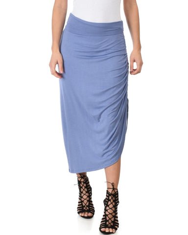 Lyss Loo Tie That Knot Fold Over Blue Maxi Skirt - Clothing Showroom