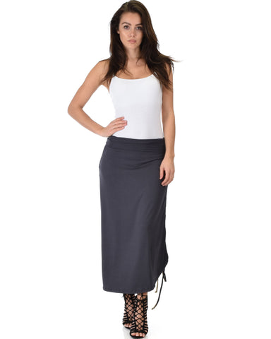 Lyss Loo Tie That Knot Fold Over Charcoal Maxi Skirt - Clothing Showroom