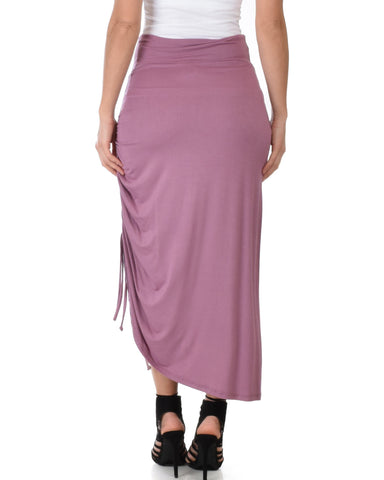 Lyss Loo Tie That Knot Fold Over Mauve Maxi Skirt - Clothing Showroom