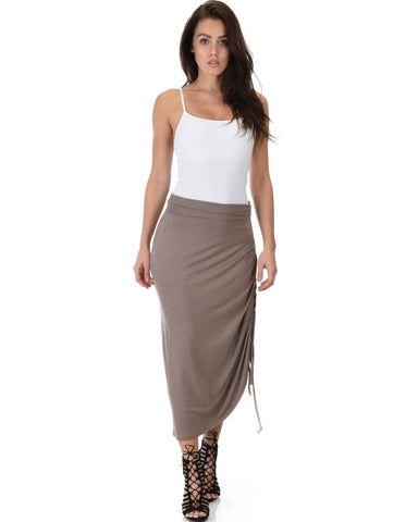 Lyss Loo Tie That Knot Fold Over Taupe Maxi Skirt - Clothing Showroom