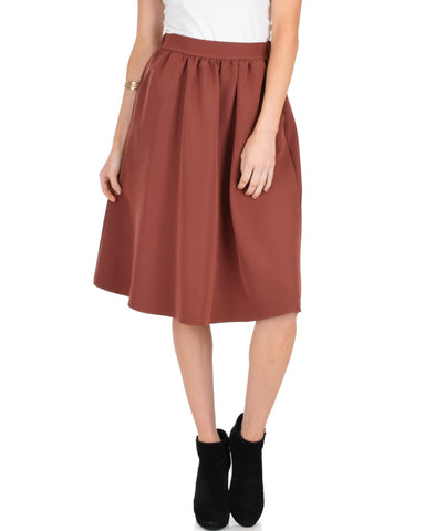 Lyss Loo Dance Montage A-Line Pocket Marsala Skirt - Clothing Showroom