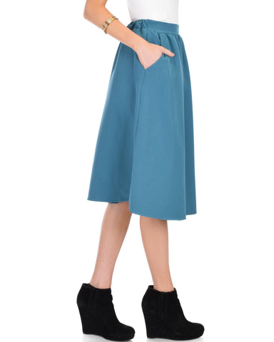 Lyss Loo Dance Montage A-Line Pocket Teal Skirt - Clothing Showroom