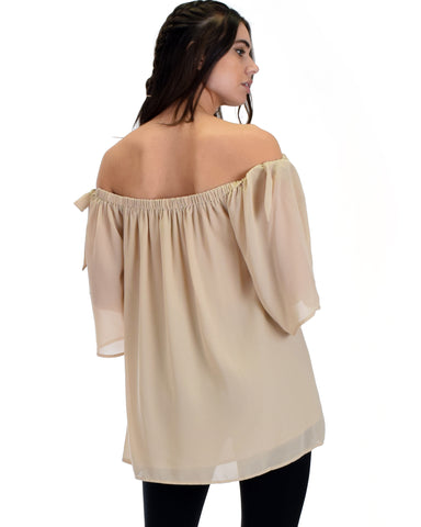 SL2896 Taupe 3/4 Sleeve Off Shoulder Top With Bow Detail 2-2-2 - Clothing Showroom