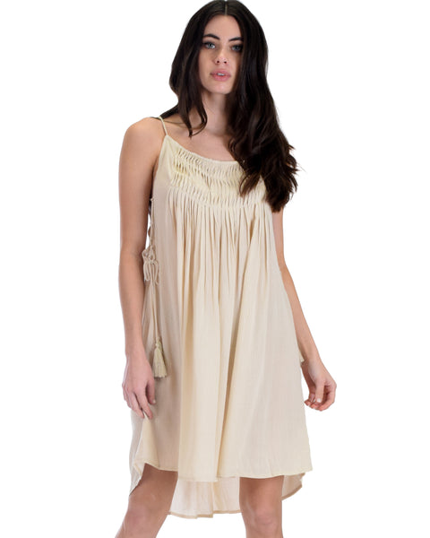 SL3256 Natural Spaghetti Strap Swing Dress With Side Lace 2-2-2 - Clothing Showroom