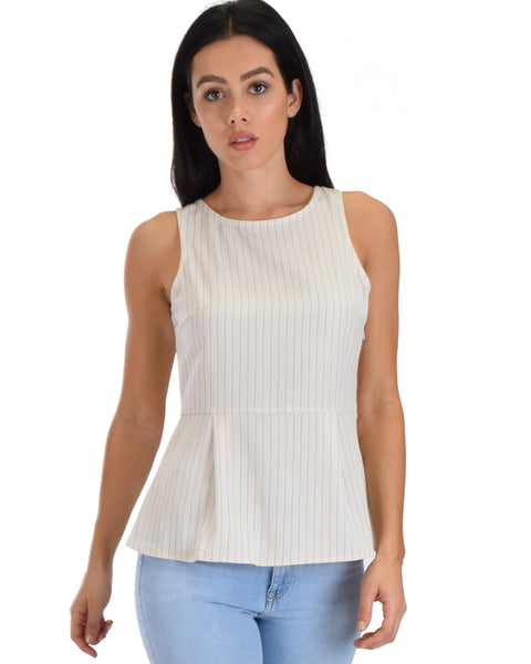 SL3380 Taupe Sleeveless Pinstripe Peplum Top With Back Opening 2-2-2 - Clothing Showroom