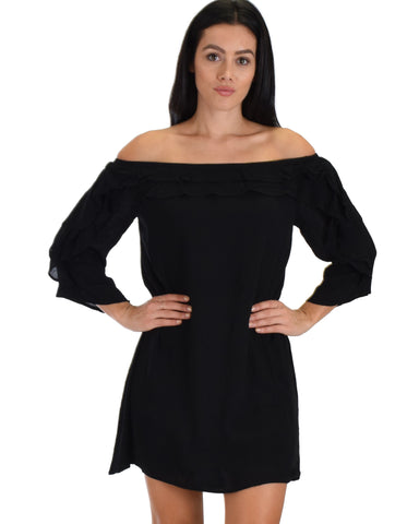 SL3468 3/4 Sleeve Shift Black Dress With Ruffled Layers 2-2-2 - Clothing Showroom