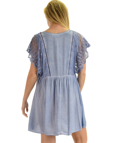 SL3536 Blue Short Sleeve Mineral Wash Swing Dress With Lace Sleeves 2-2-2 - Clothing Showroom