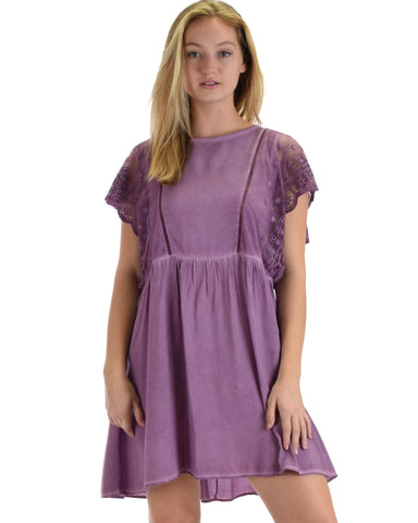 SL3536 Purple Short Sleeve Mineral Wash Swing Dress With Lace Sleeves 2-2-2 - Clothing Showroom