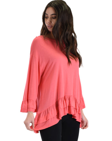 SL3545 Coral 3/4 Flare Sleeve Top With Layered Tucked Ruffles 2-2-2 - Clothing Showroom