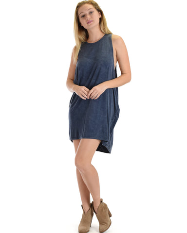 SL3572 Navy Sleeveless Mineral Washed Over-sized Muscle Tunic Tank 2-2-2 - Clothing Showroom