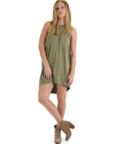 SL3572 Olive Sleeveless Mineral Washed Over-sized Muscle Tunic Tank 2-2-2 - Clothing Showroom