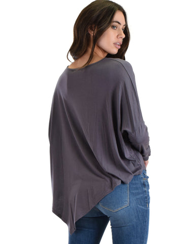 SL3588 Grey Long Sleeve Top With Asymmetrical Hem 2-2-2 - Clothing Showroom