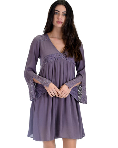 SL3624 Lilac Grey Long Bell Sleeve Dress With Lace Contrast 2-2-2 - Clothing Showroom