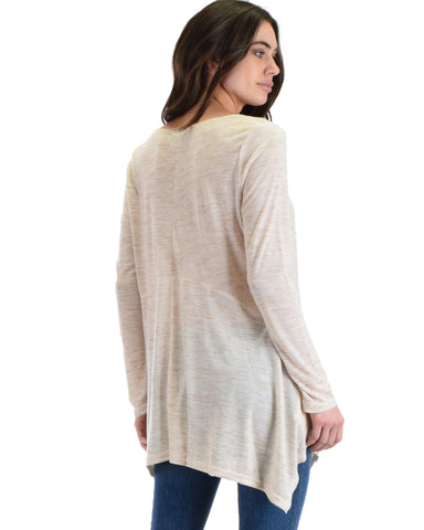 SL3635 Oatmeal Long Sleeve Tunic Top With Handkerchief Hen 2-2-2 - Clothing Showroom