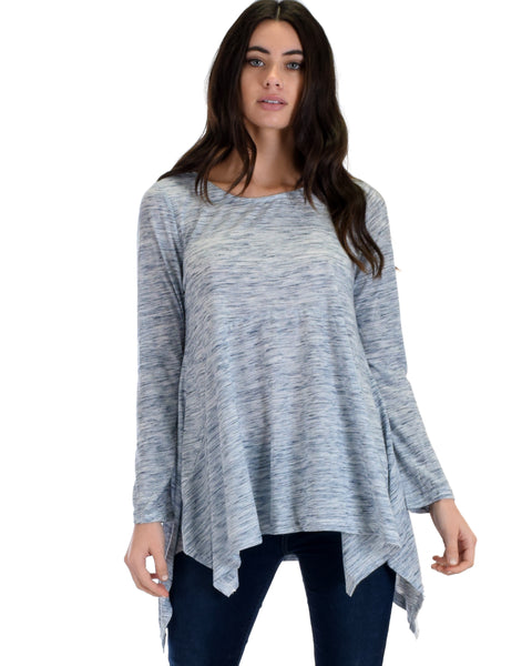 SL3635 Navy Long Sleeve Tunic Top With Handkerchief Hem 2-2-2 - Clothing Showroom