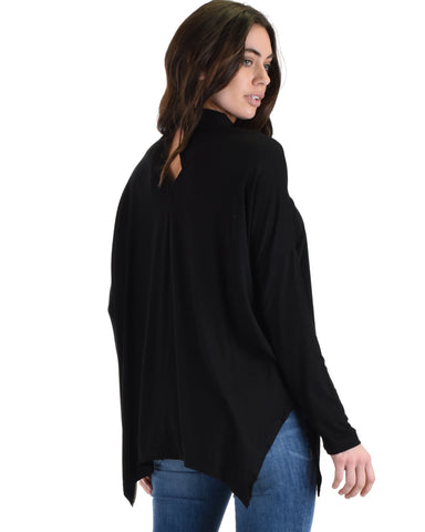 SL3638 Black Long Sleeve Top With Chocker And Asymmetrical Hem 2-2-2 - Clothing Showroom