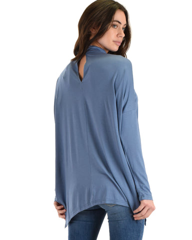 SL3638 Blue Long Sleeve Top With Chocker And Asymmetrical Hem 2-2-2 - Clothing Showroom