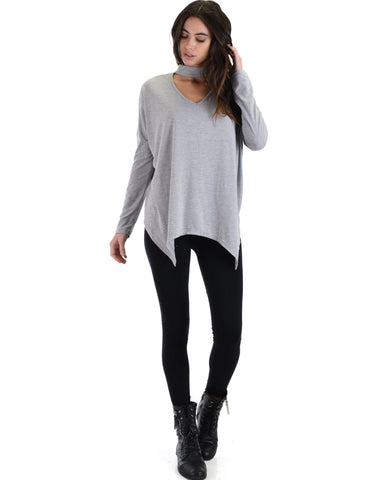 SL3638 Grey Long Sleeve Top With Chocker And Asymmetrical Hem 2-2-2 - Clothing Showroom