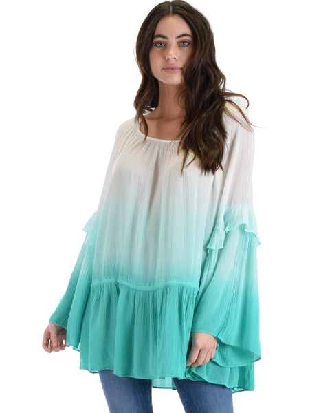 SL3655 Jade Long  Bell Sleeve Peasant Top With Ombre Dip Dye And Waist Drawstring 2-2-2 - Clothing Showroom