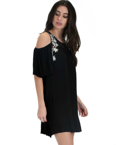 SL3670 Black Sleeve Cold Shoulder Shirt Dress With Lace And Floral Embroidery 2-2-2 - Clothing Showroom