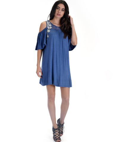 SL3670 Blue Sleeve Cold Shoulder Shirt Dress With Lace And Floral Embroidery 2-2-2 - Clothing Showroom