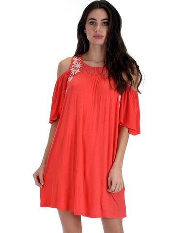 SL3670 Coral Sleeve Cold Shoulder Shirt Dress With Lace And Floral Embroidery 2-2-2 - Clothing Showroom