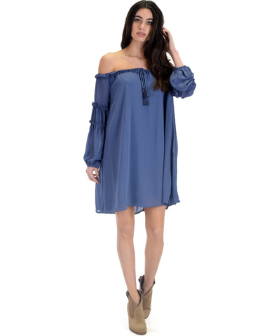 SL3719 Dusty Long Sleeve Off Shoulder Shift Dress With Ruffled Trim And Tassel Tie 2-2-2 - Clothing Showroom