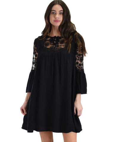 SL3721 Black 3/4 Sleeve Swing Dress With Lace Trim 2-2-2 - Clothing Showroom