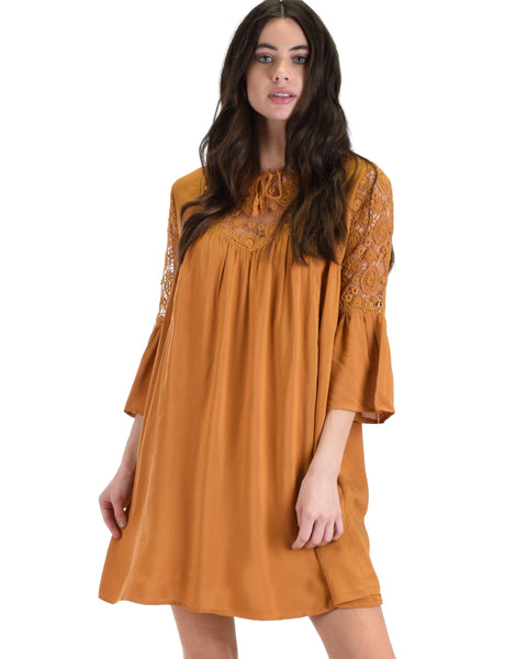 SL3721 Caramel 3/4 Sleeve Swing Dress With Lace Trim 2-2-2 - Clothing Showroom