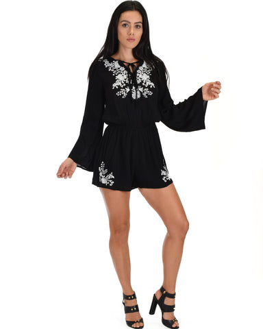 SL3743 Black Long Sleeve Romper With Floral Embroidery And Tie Neck 2-2-2 - Clothing Showroom
