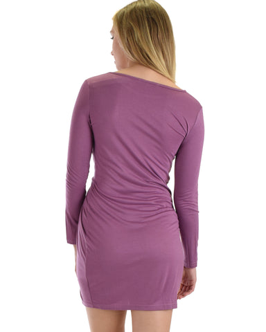 SL3748 Mauve Long Sleeve Fitted Dress With Waist Twist Detail 2-2-2 - Clothing Showroom
