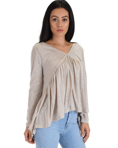 SL3749 Light Taupe Long Sleeve Blouse With Shirring Deatail 2-2-2 - Clothing Showroom