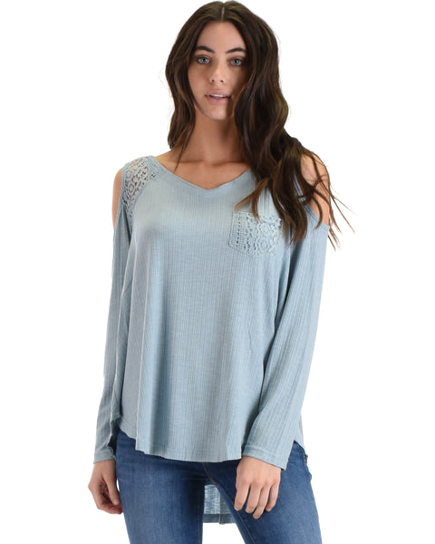 SL3760 Blue Long Sleeve Ribbed Top With Cold Shoulder And Lace Contrast 2-2-2 - Clothing Showroom