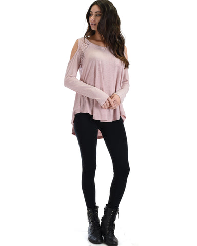 SL3760 Pink Long Sleeve Ribbed Top With Cold Shoulder And Lace Contrast 2-2-2 - Clothing Showroom