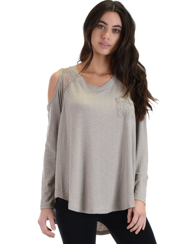 SL3760 Grey Long Sleve Ribbed Top With Cold Shoulder And Lace Contrast 2-2-2 - Clothing Showroom