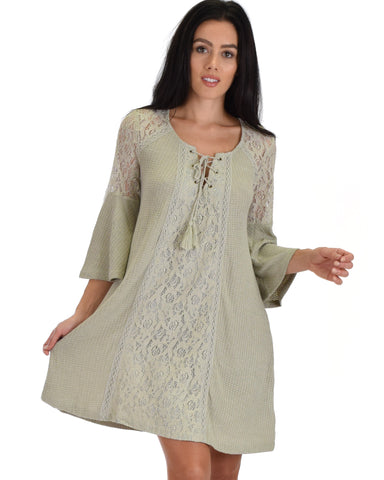 SL3793 Olive 3/4 Sleeve Shift Dress With Lace detail And Tie 2-2-2 - Clothing Showroom
