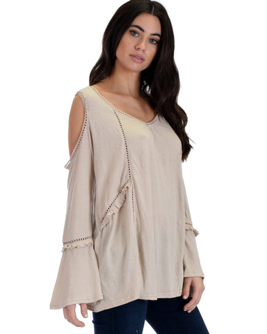 SL3795 Taupe Long Sleeve Cold Shoulder Top With Ladder Trim Crochet Lace 2-2-2 - Clothing Showroom