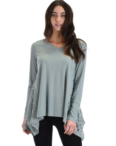 SL3845 Slate Long Sleeve Ribbed Top With Side Lace Contrast 2-2-2 - Clothing Showroom