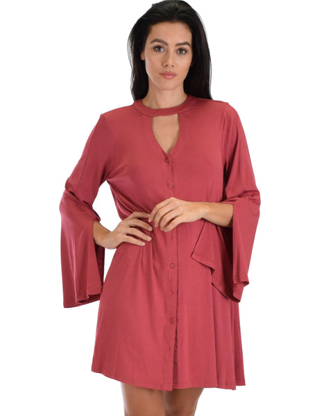 SL3851 Dusty Coral Long Sleeve Shift Dress With Front Keyhole And Button Down Detail 2-2-2 - Clothing Showroom