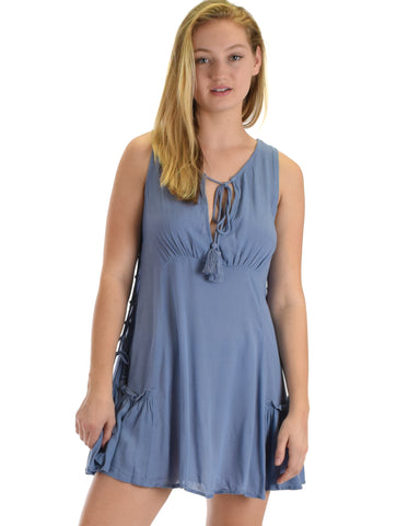 SL3854 Blue Sleeveless Tunic With Side Lace-Up Tassel Tie 2-2-2 - Clothing Showroom